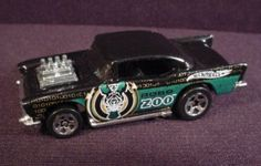 """Hot Wheels 1976 '57 Chevy, Black With Robo Zoo Tampos, From 2003 Robo Zoo 5-Pack, 2 7/8"""""""