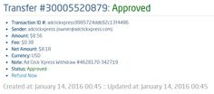 I am getting paid daily at ACX and here is proof of my latest withdrawal. This is not a scam and I love making money online with Ad Click Xpress.