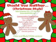 Would You Rather - Christmas Style from TheSpeechPath on TeachersNotebook.com (23 pages)  - Would You Rather: Christmas style questions for speech language therapy