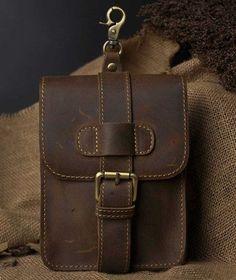 Men's Wallets Genuine Leather Retro Waist Belt Phone Pouch