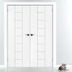 Messina White Primed Flush Door Pair, great sizes, fantastic styling and great prices. #whitefrenchdoors #contemporarydoors #internaldoors