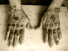 The traditional tattoo HAJITI okinawa. To the back of the hand of woman
