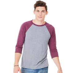Bella + Canvas 3200 Unisex 3/4 Sleeve Baseball T Shirt Features: 3.6 oz., 52% combed and ringspun cotton, 48% Polyester 40 singles, Contrast Raglan sleeves and neck trim Side seamed, Unisex fit Solid Color block colors 52/48 cotton, poly, 40 singles, 3.6 oz Marble colors are 91/9 poly, combed & ring spun cotton, 30 singles, 4.0 oz Sizes: XS, S, M, L, XL, 2XL