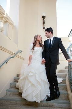 modest wedding dress with elbow sleeves from alta moda. -- (modest bridal gowns)