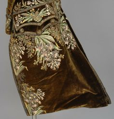 Detail embroidery, court coat, second half 18th century. Brown silk velvet, extensively decorated with polychrome silk and silver metallic embroidery, silk lining.