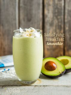 Coconut Avocado Breakfast Smoothie: After waking from a well-rested night you're bound to hear your stomach grumble. Be sure to nourish it with healthy plant-based, nutrient-dense foods rich in protein, healthy fats and complex carbohydrates to keep you feeling satiated until lunch. #VegaSmoothie #BestSmoothie