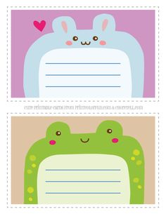 Cute Printable Animal Notecards For Kids Rabbit Frog Coloring Page