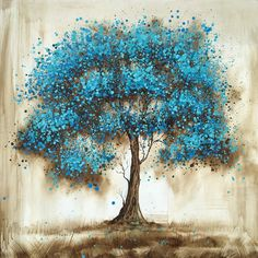 Winston Porter 'Blue Tree' Oil Painting Print on Wrapped Canvas Simple Oil Painting, Blue Painting, Tree Painting Easy, Painting Trees On Canvas, Abstract Tree Painting, Painting On Metal, Abstract Oil, Abstract Landscape, Tree Canvas
