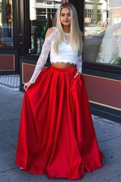 Two Piece Long Sleeves Cold Shoulder Red Long Prom Dress with White Lace Pockets Prom Dresses Lace, White Lace Prom Dresses, Long Sleeves Prom Dresses, Two Pieces Prom Dresses, Prom Dresses Prom Dresses 2019 Two Piece Long Dress, Prom Dresses Two Piece, Prom Dresses For Teens, Cheap Prom Dresses, Party Dresses, Dress Long, Simple Dresses, Dress Formal, Dresses Uk