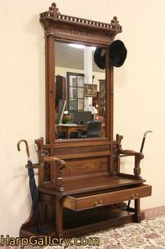 NUMBER TWO - Eastlake 1875 Antique Hall Bench, Stand & Mirror - Harp Gallery Antique Furniture