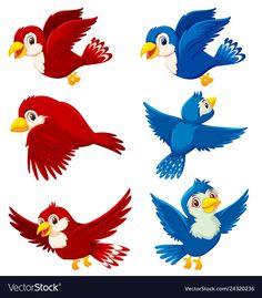 Set of bird character vector image on VectorStock Sunday School Crafts For Kids, Cartoon Birds, Alcohol Ink Crafts, Moana, Character Illustration, Bird Houses, Adobe Illustrator, Vector Free, Beautiful Pictures