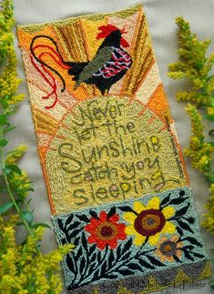 Punch Needle Kit DIMENSIONS Good Morning Sunshine Rooster with Rising Sun