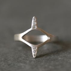 Egyptian Eye Ring in Sterling Silver with Diamonds