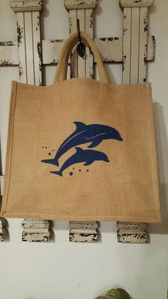 Check out this item in my Etsy shop https://www.etsy.com/listing/271078281/dolphin-jute-tote-bag