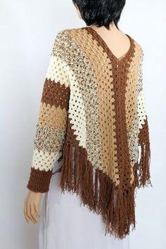 Items similar to Poncho cape pattern Shawl pattern Striped poncho Crochet Sleeved Poncho pattern on Etsy Crochet Shirt, Crochet Jacket, Knit Crochet, Crochet Baby, Crochet Vests, Crochet Edgings, Knitted Shawls, Crochet Motif, Crochet Poncho Patterns