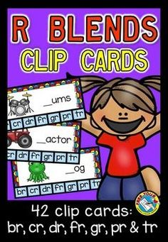#DISCOUNTED PRICE FOR A LIMITED TIME!   This hands-on fun pack, containing 42 #clip #cards, is an ideal resource for your #Literacy #Center. Children have to #identify the missing #r #blend in a #word and clip the #peg onto the corresponding #letters br/ cr/ dr/ fr/ gr/ pr/ tr).  #br,cr,dr,fr,gr,pr,tr #phonics  #sounds #blends #word #work