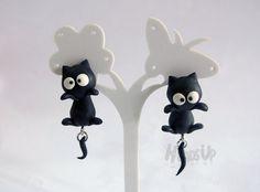 Handmade polymer clay cartoon cute cat black by HeadsUpAccessories