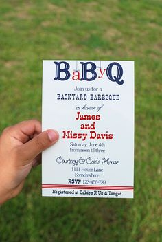Baby Q invite, BBQ in celebration of the babies arrival, this is a cute idea so that the daddy can be involved!