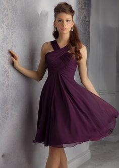 Halter Cris Cross Chiffon Dark Purple Knee Length Bridesmaid Dress