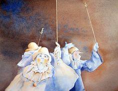 Martine Vanparijs   WATERCOLOR Clowns, Watercolours, Figurative, Disney Characters, Fictional Characters, Aurora Sleeping Beauty, Artists, Disney Princess, Painting