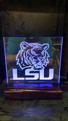 Acrylic Edge lit LED signs LSU inspired tiger by Marysbowsnboards on Etsy