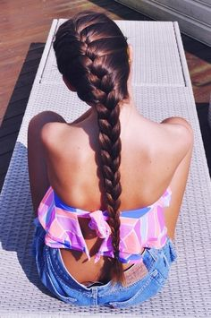 French Braid, Flowy Bandeau and High Waisted Vintage Jean Shorts