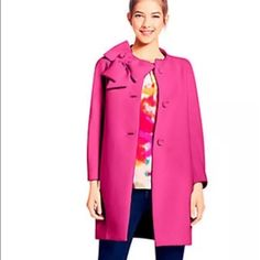 NWT Kate Spade Kendall Bow Coat Pink XS 210 ️️ New with tags in gorgeous pink! Retails for 628 - $210 shipped ️️ kate spade Jackets & Coats