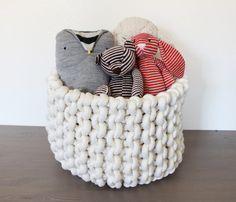 Large+knit+rope+basket+by+marymarieknits+on+Etsy                                                                                                                                                                                 More