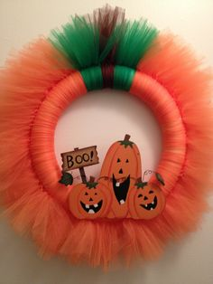 Pumpkin+Tulle+Wreath+by+ideasbyjamie+on+Etsy,+$20.00 Tulle Crafts, Tulle Projects, Fall Wreaths, Mesh Wreaths, Christmas Wreaths, Halloween Projects, Halloween Diy, Halloween Tulle Wreath, Halloween Decorations