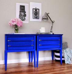 Brighten up your room with DIY blue nightstands.