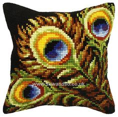 Peacock Feather Cushion Front Chunky Cross Stitch Kit