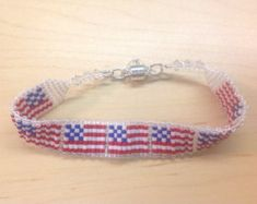 Art Deco US Flag Beaded Bracelet by LindaKBeaded on Etsy