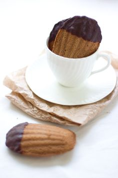 Chai Madeleines Dipped in Dark Chocolate