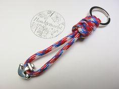 Schlüsselanhänger - Schlüsselanhänger Paracord Anker blau rot Segler  - ein Designerstück von FunkelsternDesign bei DaWanda
