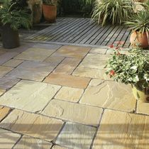 Engineered stone paving tile for outdoor floors - NATURAL TRAVERTINE - BRADSTONE