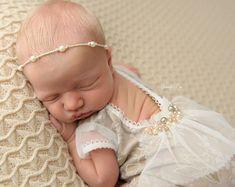 cod988Newborn beige Romper Lace baby girl от 4LittlePrincessProps