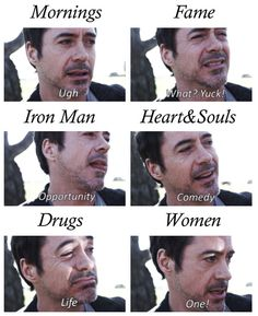": word association (from the short film ""New Life"") Tony Stark, Beau Gif, I Robert, Marvel Films, Rhyme And Reason, Cute Actors, Music Humor, Robert Downey Jr, New Life"
