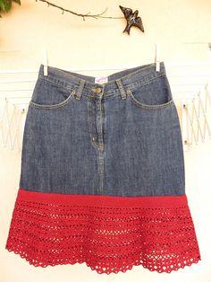 Sewing Clothes, Crochet Clothes, Diy Clothes, Crochet Skirts, Crochet Blouse, Denim Bag, Denim Skirt, Jeans Refashion, Denim Crafts