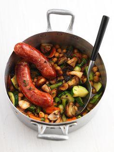 kikkererwtenstoof met champignons en chorizo- stoofschotel- klaar in 30 min.