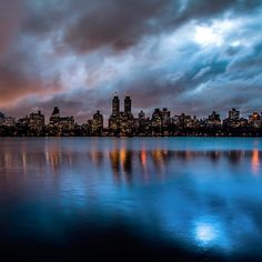 """Noel Y. C. on Instagram: """"Last night's cloudy blue hour after the rain at the Jacqueline Kennedy Onassis Reservoir in Central Park, Manhattan, New York…"""""""