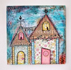 Original Painting of two whimsical cottages - mixed media wall art - art for your home on Etsy, $58.00