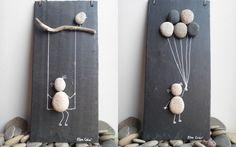 Enfants, ardoise et galets Stone Crafts, Rock Crafts, Diy And Crafts, Arts And Crafts, Burlap Wall Decor, Creation Deco, Diy Buttons, Burlap Flowers, Ball Jars