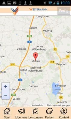Apmato-made-app des Malerfachbetriebs Westermann & Co. KG in Mühlen, Westfalen, Norddeutschland ❧ map android.