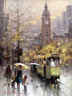 Autumn Morning in Melbourne - Ramon Ward-Thompson Classic Paintings, Great Paintings, Beautiful Paintings, Watercolor Paintings, Watercolours, Bus Art, Ancient Greek City, City Sketch, Paris Painting
