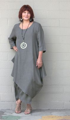 Bryn Walker Light Linen Naida Tunic Lagenlook Asymmetric Dress s M L XL Black | eBay
