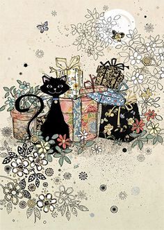 Black Cat with Flowers & Presents Card by Bug Art I Love Cats, Crazy Cats, Cool Cats, Cat Cards, Greeting Cards, Gatos Cool, Art Carte, Black Cat Art, Black Cats