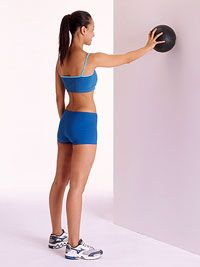 The ABC's of Sexy Shoulders - one simple exercise  Stand with feet shoulder-width apart, holding a medicine ball with right hand against a wall at arm's length.  Keeping hips and shoulders square to the wall, outline the letters of the alphabet by tracing the ball against the wall.  Aim to get to z; if you have to stop at p, shoot for q next time.  Repeat with left arm.