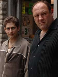 Still of James Gandolfini and Michael Imperioli in The Sopranos