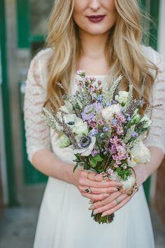 anemone and wildflower bouquet, photo by Ellie Gillard http://ruffledblog.com/bohemian-london-wedding #flowers #weddingbouquet