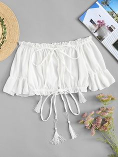 Shop Off Shoulder Tie Neck Top online. SheIn offers Off Shoulder Tie Neck Top & more to fit your fashionable needs. Bardot Crop Top, Off Shoulder Crop Top, Crop Blouse, Summer Shirts, White Style, Couture, Types Of Sleeves, Sleeve Styles, Body